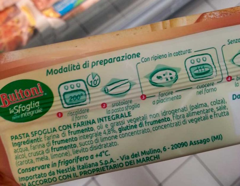 Leggere le etichette: Sfoglia con farina integrale Buitoni
