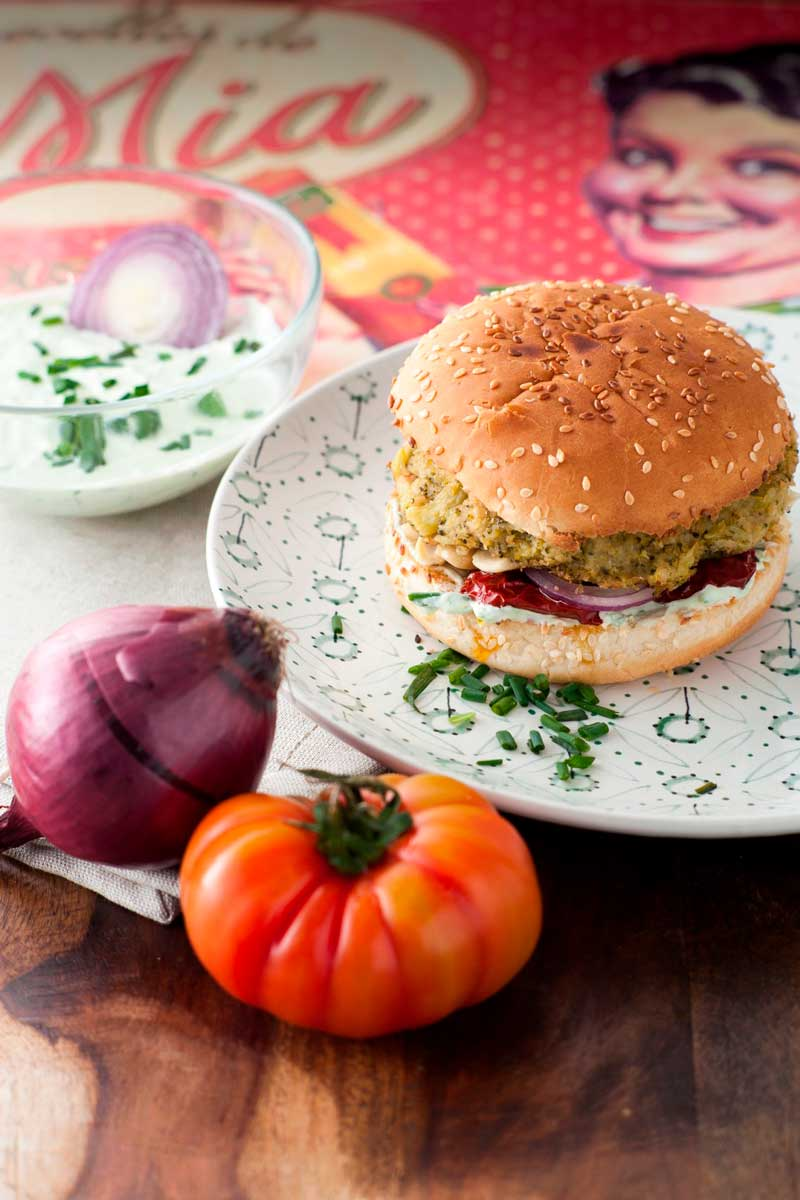 Hamburger broccoli e ceci