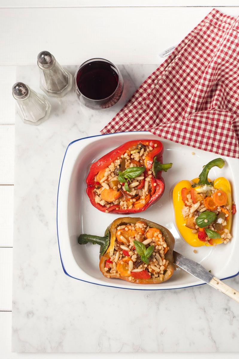 Peperoni al forno ripieni di cous cous integrale