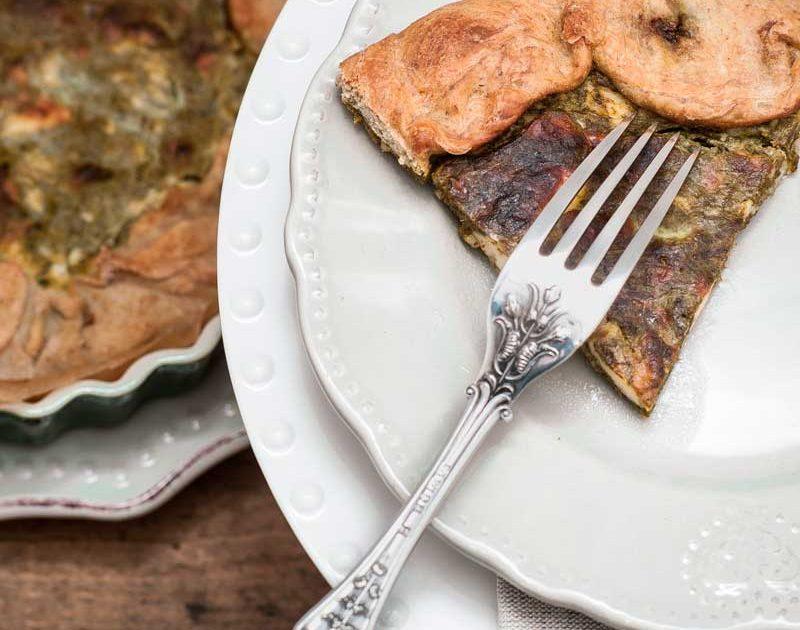 Torta salata al pesto di cime di rapa e 'morbidino'